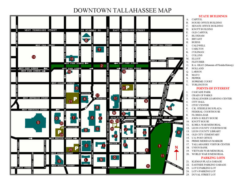 Downtown Tallahassee Parking Map